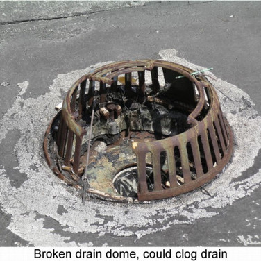 Broken roof drain cover could cause and allow drain to clog