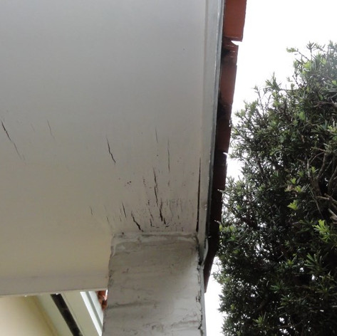 Leak causing soffit damage.