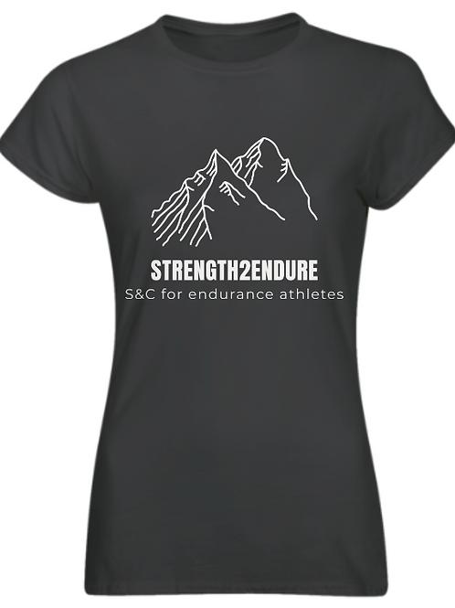 Strength2endure'charcoal' ladies running/training top