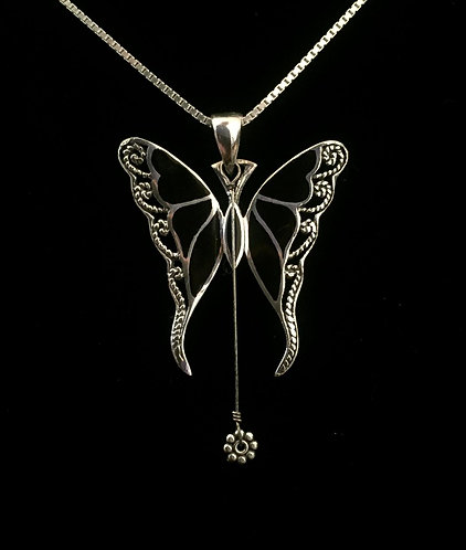 Gregg Allman String & Silver Butterfly w/Black Inlay