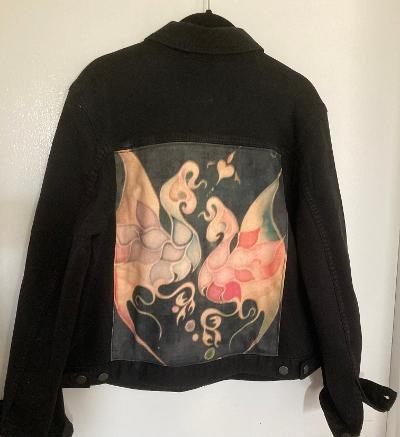 Women's Black Jean Jacket w/ Duane Allman's Famous Gryphon Shirt Back Image