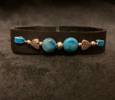 1-of-a-Kind! Gregg Allman String Turquoise w/Silver Hearts Leather Bracelet