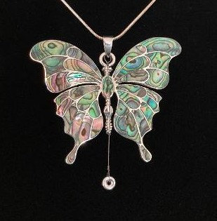 Large, One-of-a-Kind Silver Butterfly w/Abalone Inlay & Gregg Allman's String
