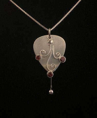 Gregg Allman's played guitar strings sterling silver pick necklace