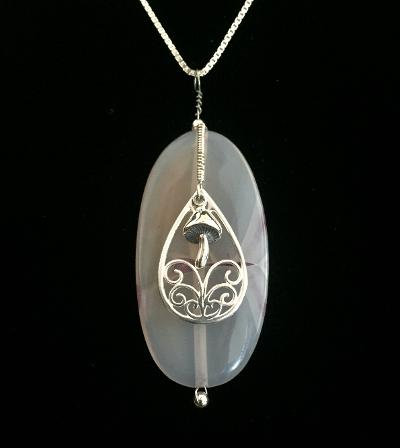 One-of-a-Kind Agate w/Gregg Allman's String Silver Design & Mushroom #44