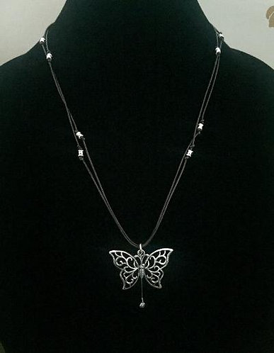 Gregg Allman's String & Butterfly on Black Leather w/Silver Beads