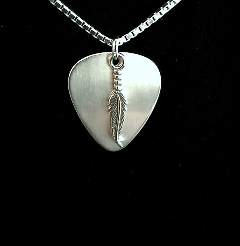 Sterling Silver Guitar Pick with Feather Charm