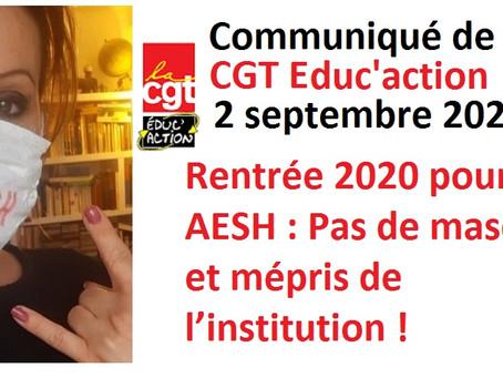 Rentrée 2020 pour les AESH : Pas de masques et mépris de l'institution !