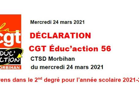 DÉCLARATION CGT Éduc'action 56 CTSD - 24 mars 2021
