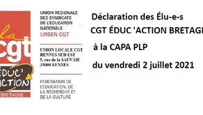 Déclaration des élu-e-s CGT Éduc'action  Bretagne à la CAPA PLP du vendredi 2 juillet 2021