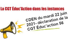 CDEN du mardi 22 juin 2021- déclaration de la CGT Éduc'action 56
