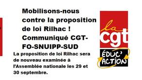 Mobilisons-nous contre la proposition de loi Rilhac! – Communiqué CGT- FO -SNUIP - SUD