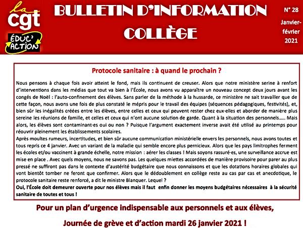 Bulletin collège n° 28 janvier-février