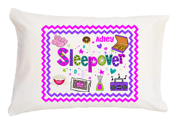 Sleepover w/Custom Name Standard Pillowcase