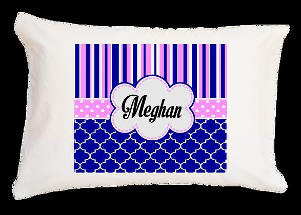 Meghan Blue & Pink Design w/Custom Name Travel Pillow