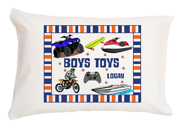 Boys Toys w/Custom Name Travel Pillow