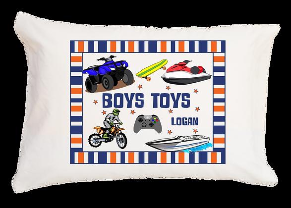 Boys Toys w/Custom Name Standard Pillowcase
