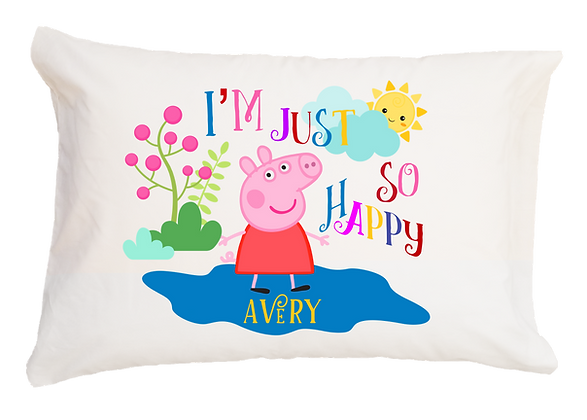 Peppa Pig w/Custom Name Standard Pillowcase