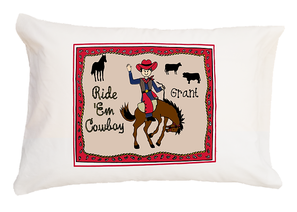 Cowboy w/Custom Name Standard Pillowcase