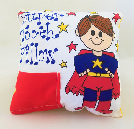 Brown Haired Super Hero Boy Tooth Pillow