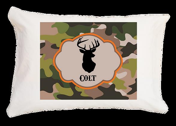 Camo Deer w/Custom Name Travel Pillow