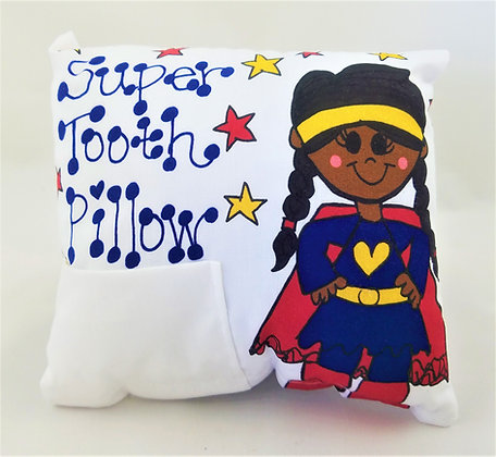African American Super Hero Girl Tooth Pillow