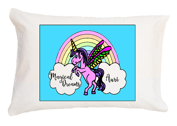 Unicorn Rainbow w/Custom Name Travel Pillow