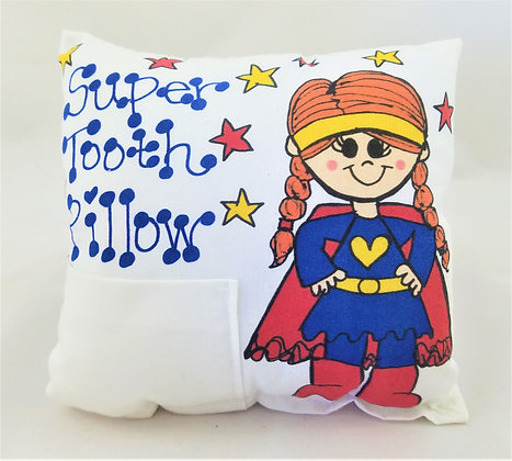 Redhead Super Hero Girl Tooth Pillow