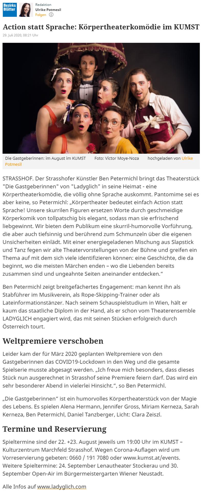 Bezirksblätter Gänserndorf, August 2020.