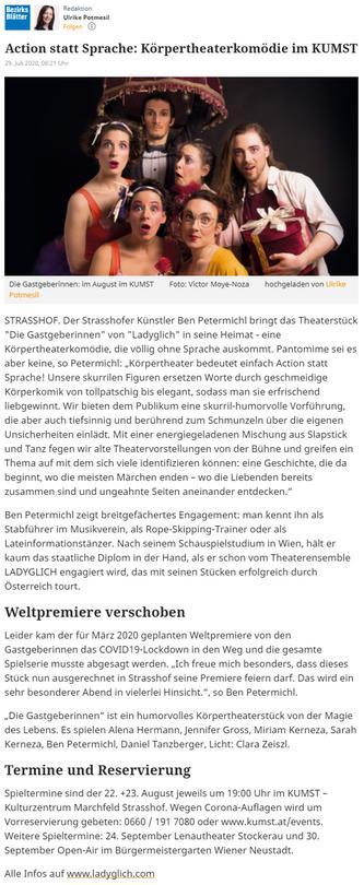 Bezirksblätter Gänserndorf, August 2020