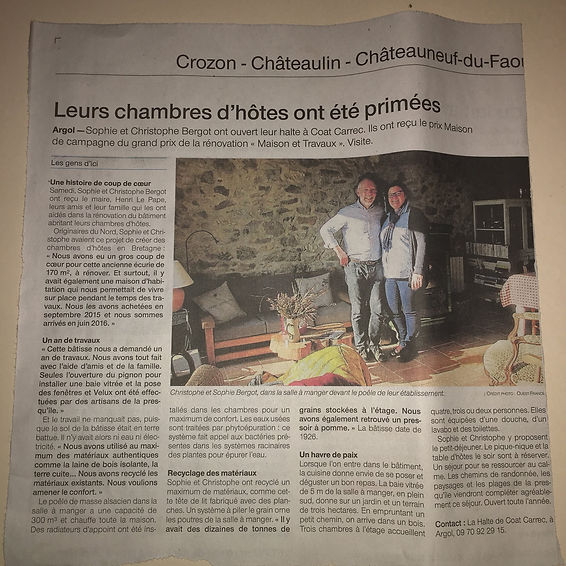 Article Ouest France - 24-25 Novembre 2018