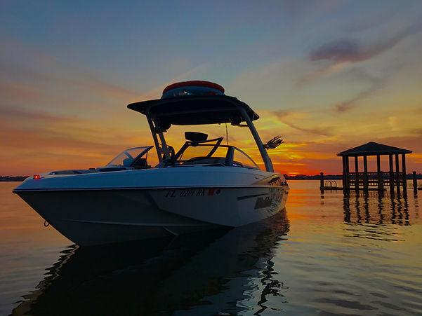 Wakesurf Orlando Malibu 23 LSV Wakesetter Wakesurf Boat Sunset on the Lake Butler Chain