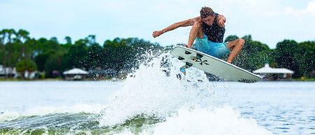 Wakesurf Orlando team rider Parker Payne launching the Phase 5 Phantom wakesurf board