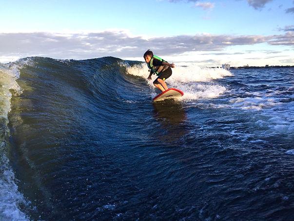 Wakesurf Orlando with Brady Wakesurfing a Head High Wave