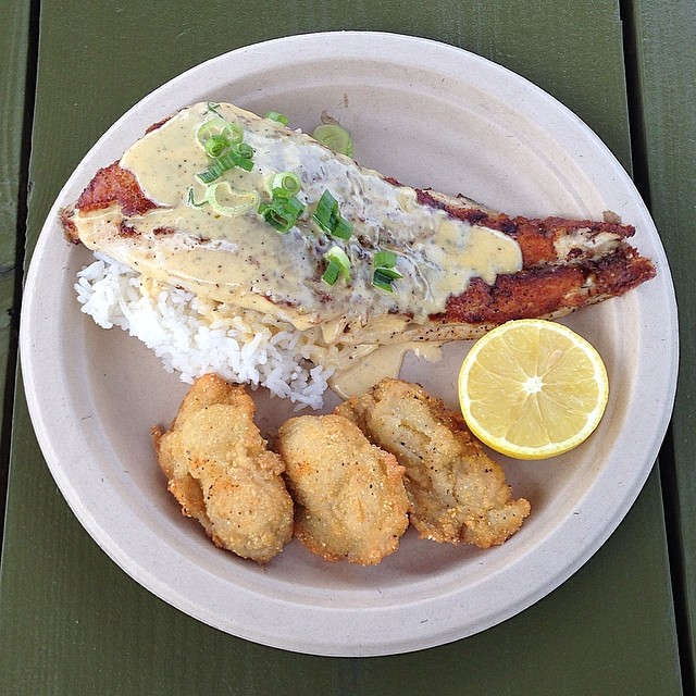 Red-fish with lemon butter sauce