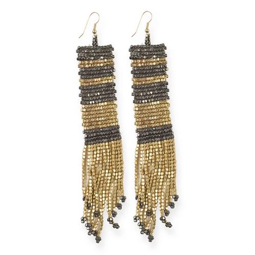 Gunmetal Long Seed Bead Earrings
