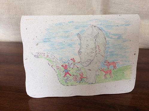Handmade 'rhino poo' greeting card