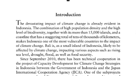 Climate Change and Food Security  Vulnerability Assessment in Bali