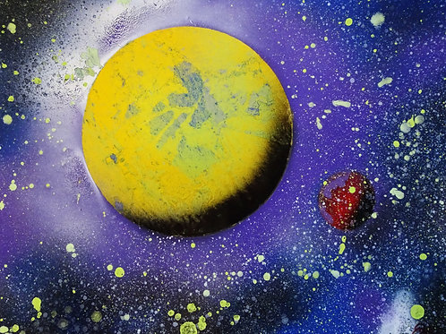 Yellow Planet Space Spray Paint Art Original 14x11