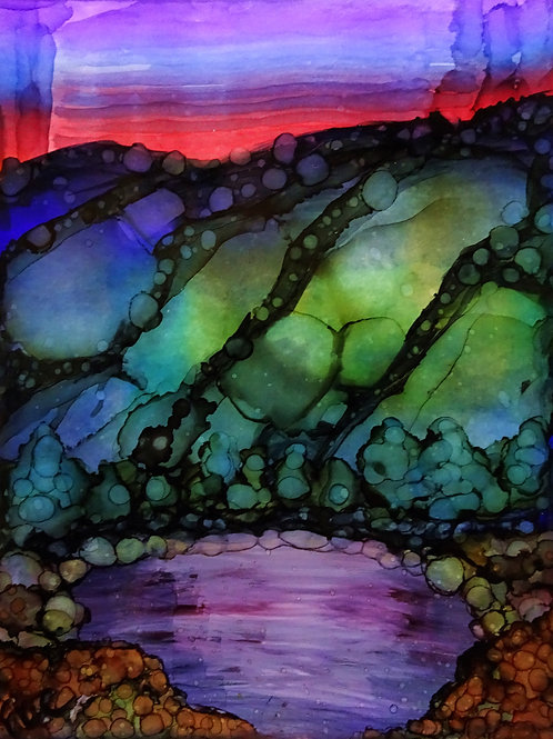 Alcohol Ink Watercolor Landscape Original Painting Sunset