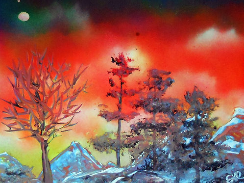 Mountain Sunrise Spray Paint Art Painting