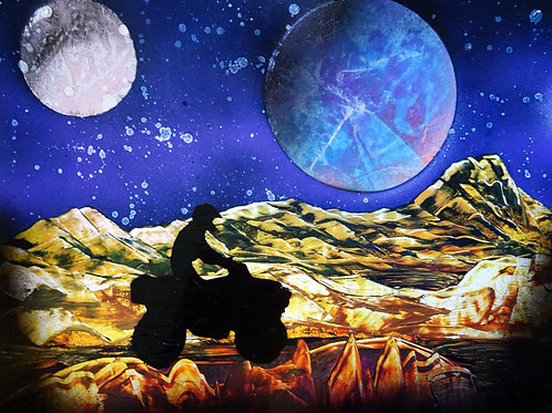 Four Wheeler ATV Sports Space Landscape Spray Paint Art Original 14x11
