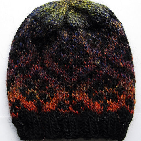 Adult Small Hand Knit Beanie Hat Floral Fair Isle
