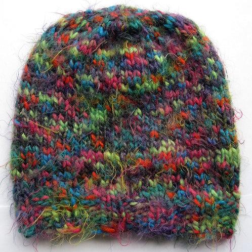 Adult Small Hand Knit Soft Fair Isle Beanie Hat Rainbow