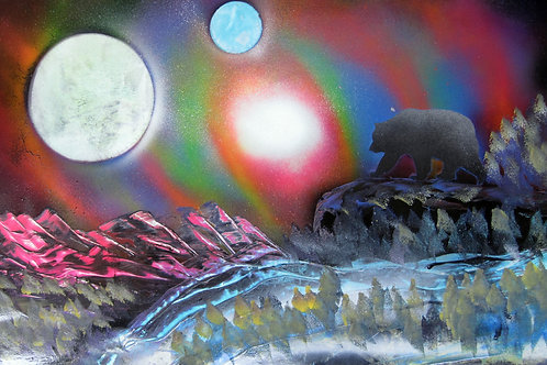 Fantasy Space Landscape with Bear Spray Paint Art Original Painting