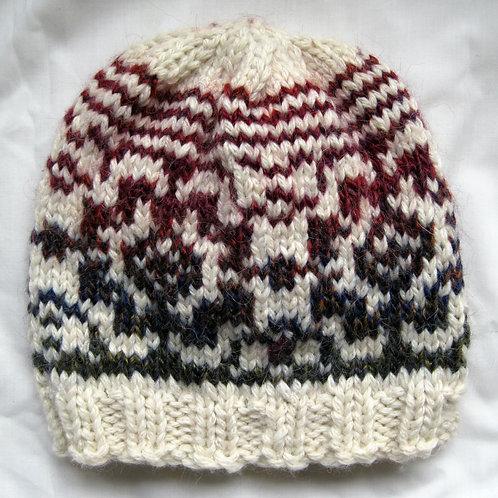Hand Knit Fair Isle Beanie Hat 100% Wool