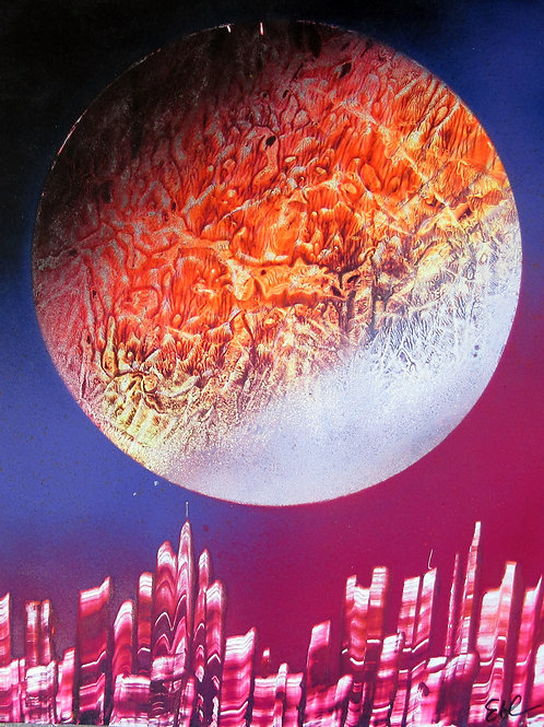 Spray Paint Art Original Space City Sunset