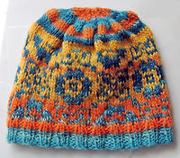 Orange Blue hand knit hat