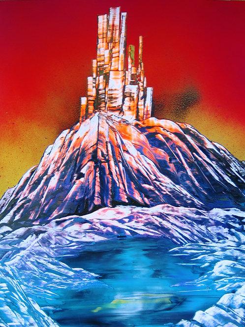 Original City Sunset Spray Paint Art Poster Painting