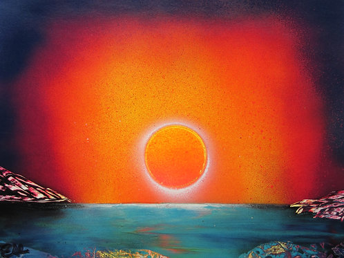 Original Spray Paint Art Sunset over Coastline Poster Painting